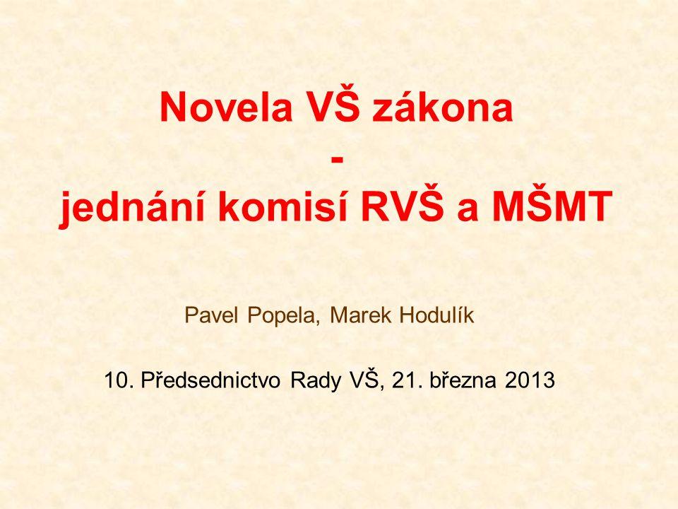 Novela VŠ zákona - jednání komisí RVŠ a MŠMT Pavel Popela, Marek Hodulík 10. Předsednictvo Rady VŠ, 21. března 2013