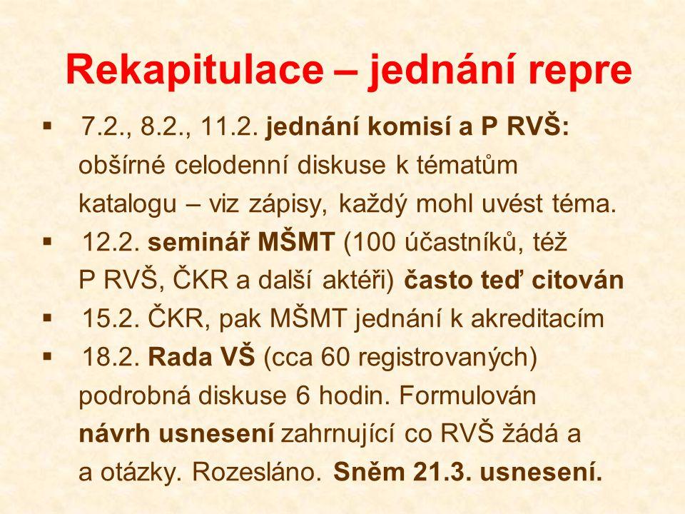 Rekapitulace – jednání repre  7.2., 8.2., 11.2. jednání komisí a P RVŠ: obšírné celodenní diskuse k tématům katalogu – viz zápisy, každý mohl uvést t