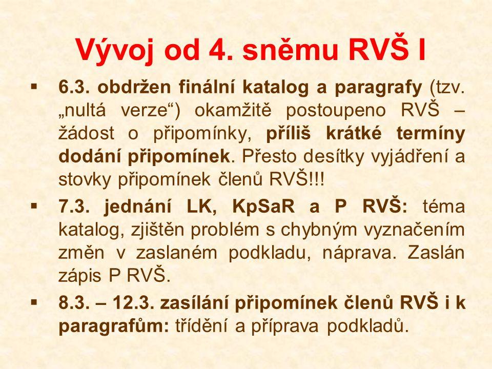 """Vývoj od 4. sněmu RVŠ I  6.3. obdržen finální katalog a paragrafy (tzv. """"nultá verze"""") okamžitě postoupeno RVŠ – žádost o připomínky, příliš krátké t"""