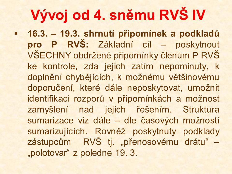 Vývoj od 4. sněmu RVŠ IV  16.3. – 19.3. shrnutí připomínek a podkladů pro P RVŠ: Základní cíl – poskytnout VŠECHNY obdržené připomínky členům P RVŠ k