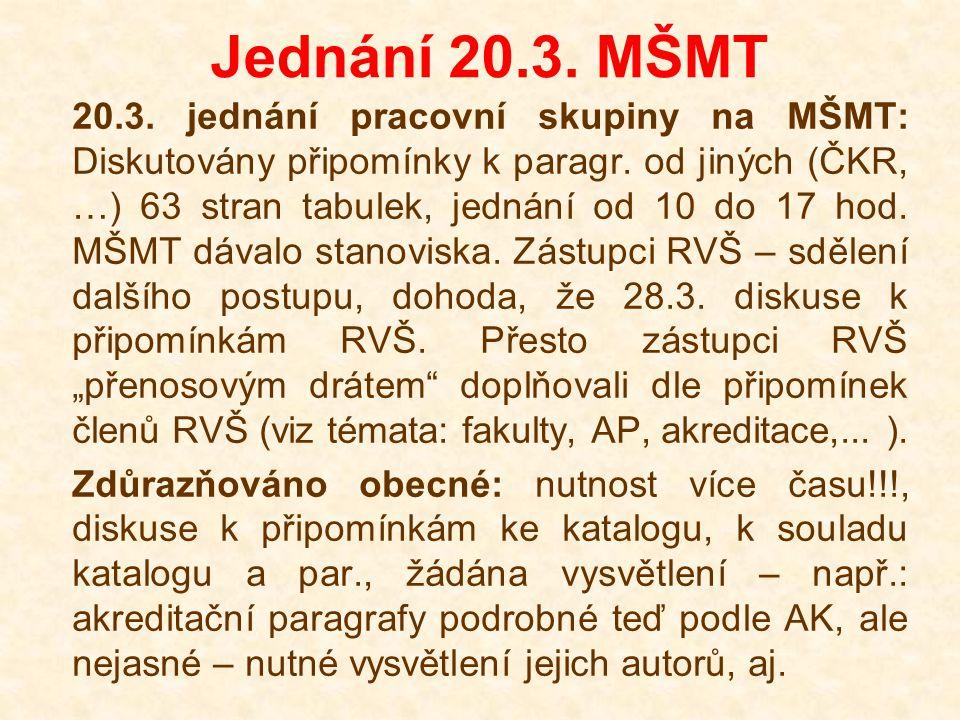 Jednání 20.3. MŠMT 20.3. jednání pracovní skupiny na MŠMT: Diskutovány připomínky k paragr.