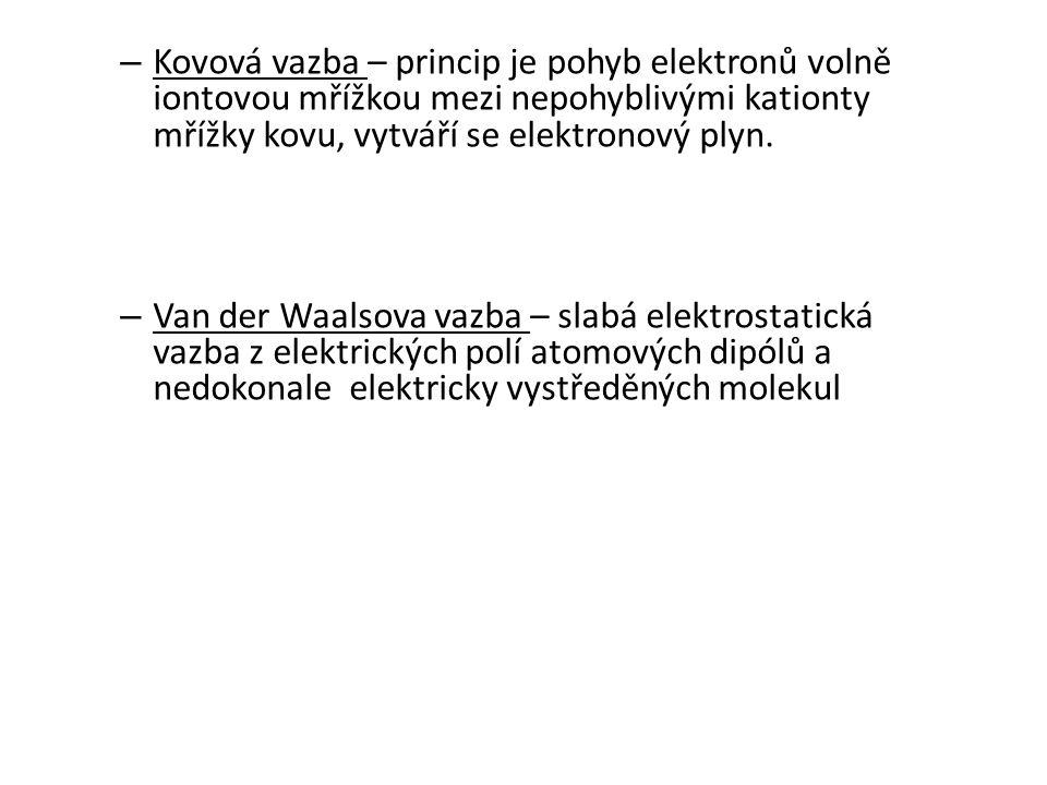 – Kovová vazba – princip je pohyb elektronů volně iontovou mřížkou mezi nepohyblivými kationty mřížky kovu, vytváří se elektronový plyn. – Van der Waa