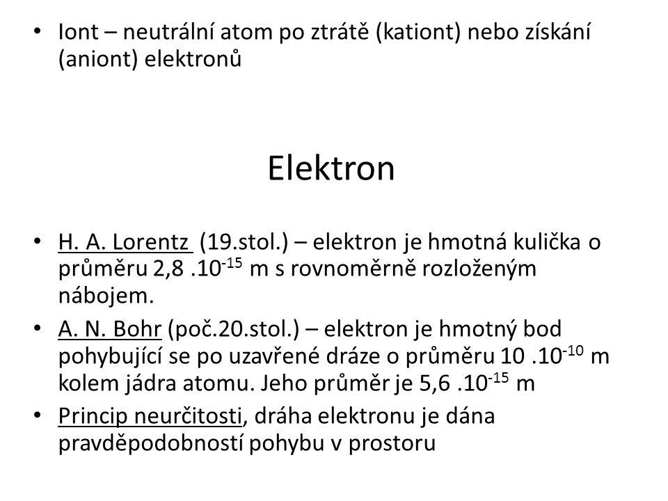 Iont – neutrální atom po ztrátě (kationt) nebo získání (aniont) elektronů Elektron H. A. Lorentz (19.stol.) – elektron je hmotná kulička o průměru 2,8
