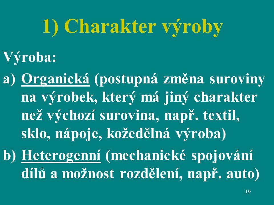 19 1) Charakter výroby Výroba: a)Organická (postupná změna suroviny na výrobek, který má jiný charakter než výchozí surovina, např.