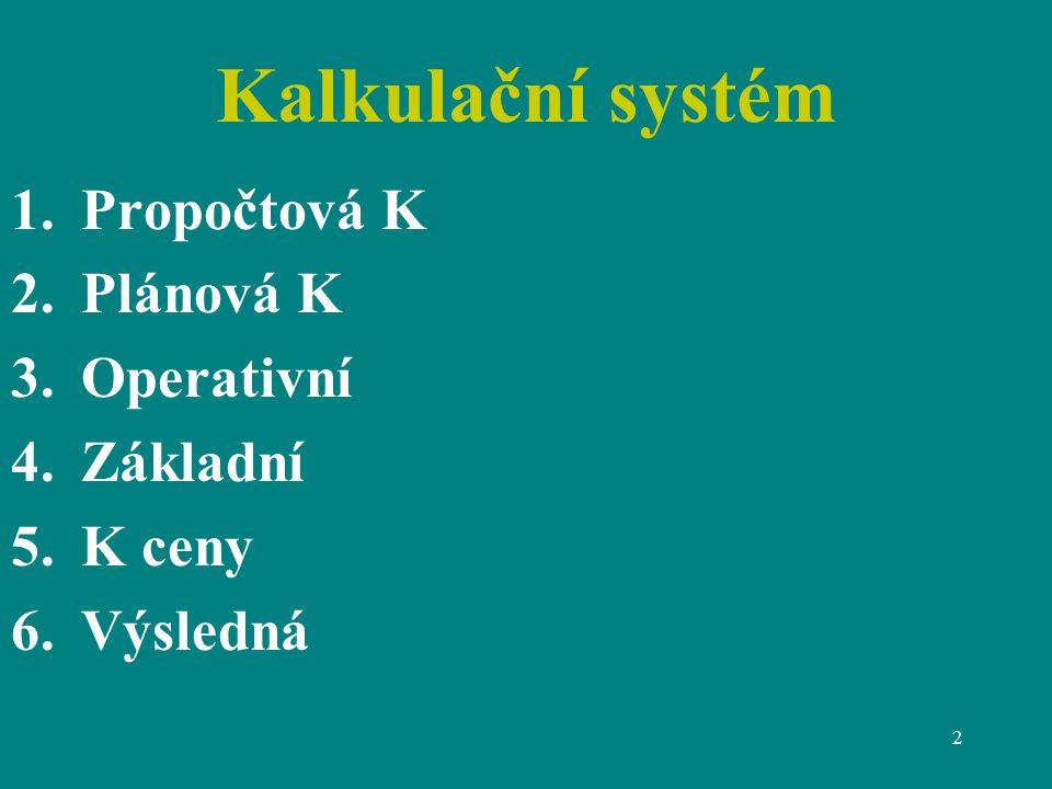 2 Kalkulační systém 1.Propočtová K 2.Plánová K 3.Operativní 4.Základní 5.K ceny 6.Výsledná