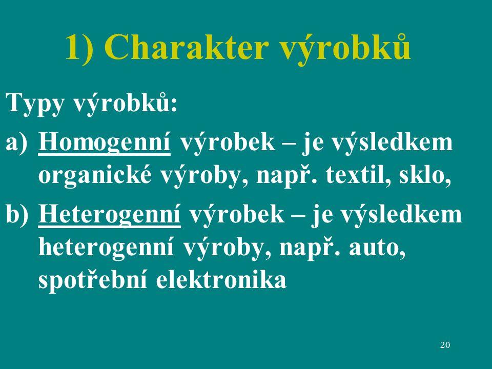 20 1) Charakter výrobků Typy výrobků: a)Homogenní výrobek – je výsledkem organické výroby, např.