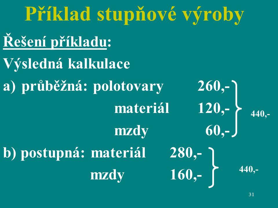 31 Příklad stupňové výroby Řešení příkladu: Výsledná kalkulace a)průběžná: polotovary260,- materiál120,- mzdy 60,- b) postupná: materiál280,- mzdy160,- 440,-
