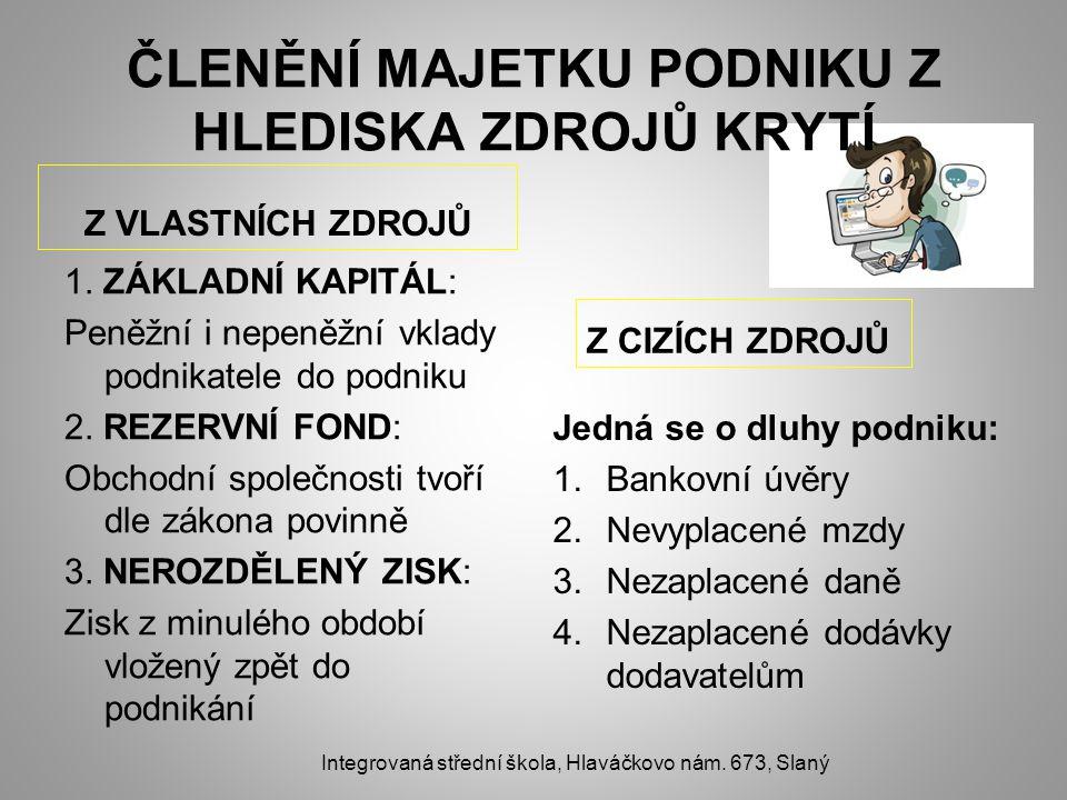 ČLENĚNÍ MAJETKU PODNIKU Z HLEDISKA ZDROJŮ KRYTÍ Z VLASTNÍCH ZDROJŮ 1.
