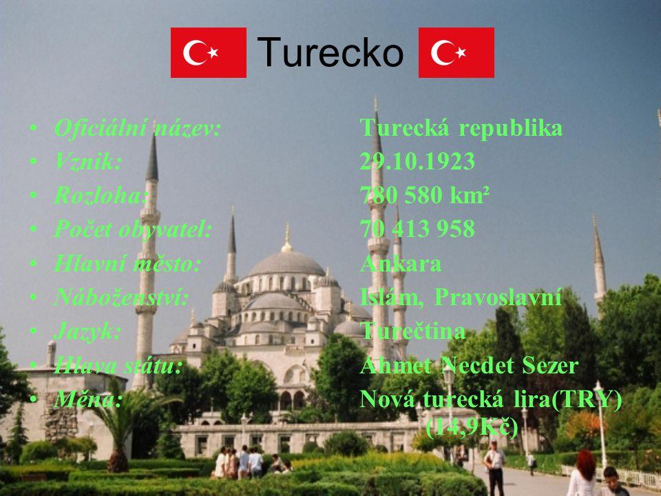 Turecko Oficiální název:Turecká republika Vznik:29.10.1923 Rozloha:780 580 km² Počet obyvatel:70 413 958 Hlavní město:Ankara Náboženství:Islám, Pravos
