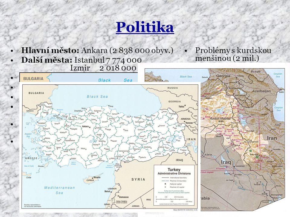 Politika Hlavní město: Ankara (2 838 000 obyv.) Další města: Istanbul 7 774 000 Izmir 2 018 000 (Smyrna) Správní členění: 80 provincií Forma vlády: parlamentní Státní zřízení: republika Hlava státu (2006): Ahmed Necdet SEZER Předseda vlády (2006): Recep Tayyip ERDOGAN Členství: NATO, OSN, OECD Problémy s kurdskou menšinou (2 mil.) Spory s Řeckem o území Snaha o vstup do EU