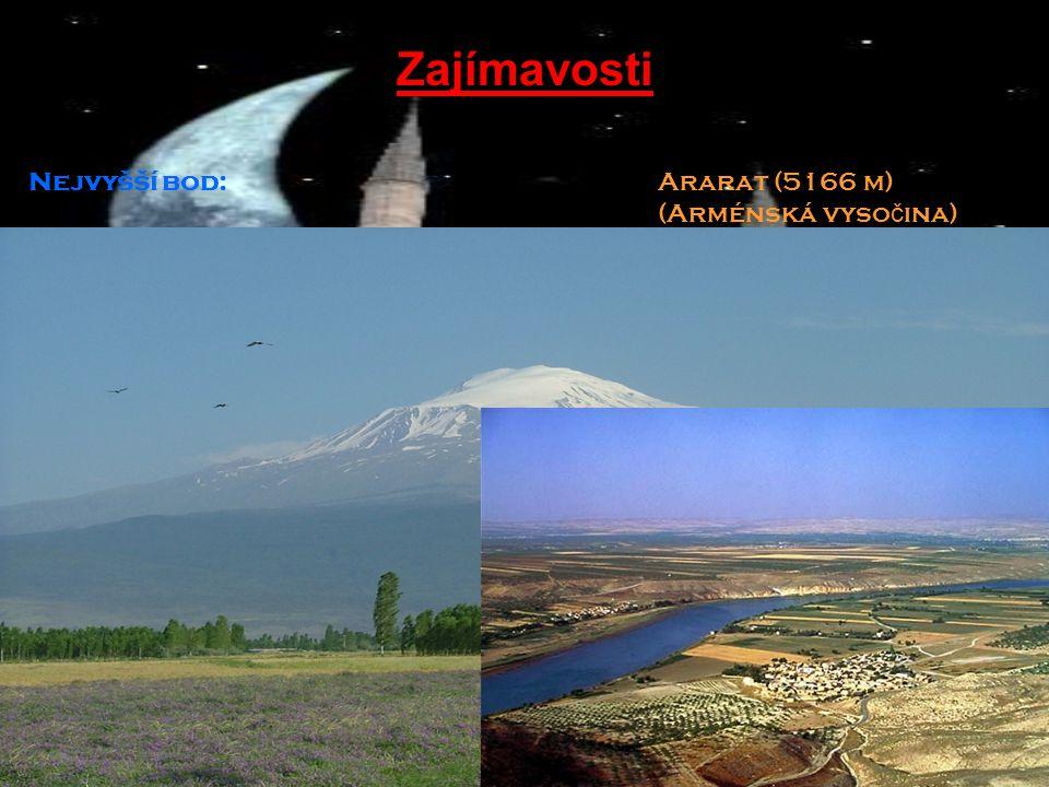Zajímavosti Nejvyšší bod: Ararat (5166 m) (Arménská vyso č ina) Nejni ž ší bod: St ř edozemní mo ř e (0m) Vyu ž ití p ů dy:32 % orná p ů da, 16 % pastviny, 26 % lesy, 26 % ostatní Nejdelší ř eka:Eufrat (2 760 km) Doprava: 8 607 km ž eleznice 382 059 km silnice Mezinárodní zkratka: TUR Mezinárodní poznávací zkratka (MPZ): TR Internetová doména:.tr Internetových u ž ivatel ů : 5 500 000 Č asové pásmo: UTC +2