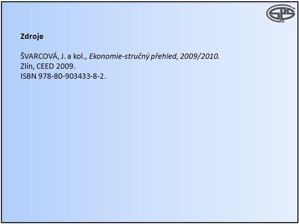 Zdroje ŠVARCOVÁ, J. a kol., Ekonomie-stručný přehled, 2009/2010.
