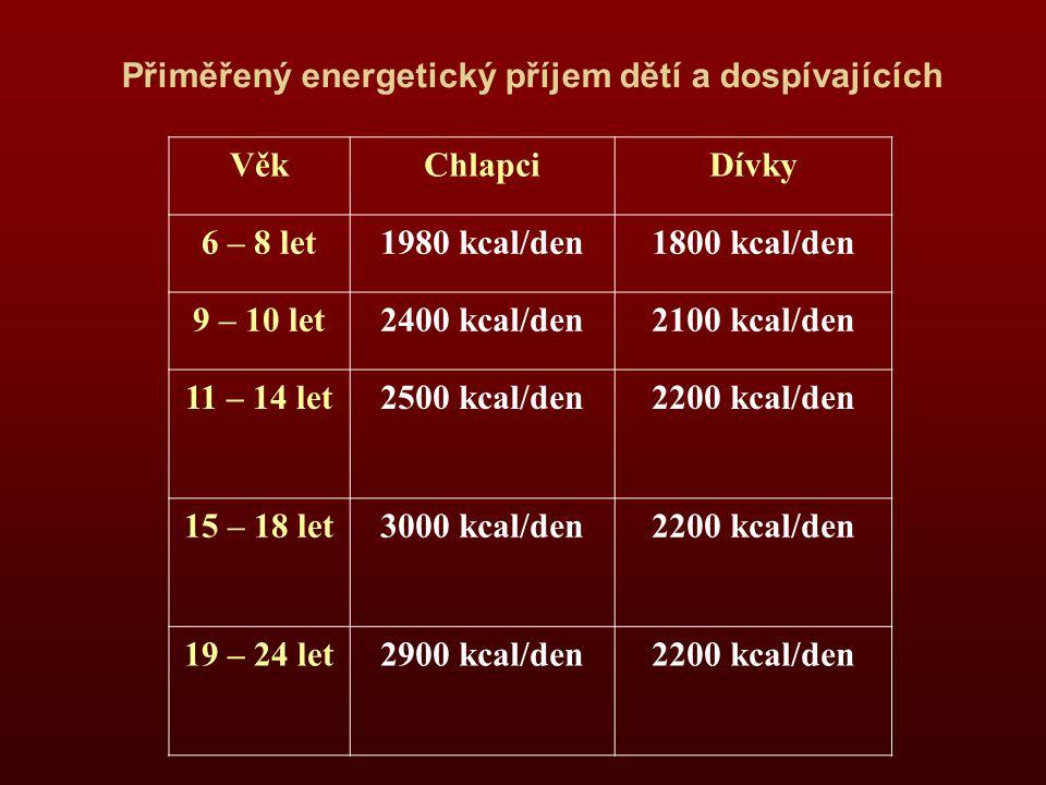 Přiměřený energetický příjem dětí a dospívajících VěkChlapciDívky 6 – 8 let1980 kcal/den1800 kcal/den 9 – 10 let2400 kcal/den2100 kcal/den 11 – 14 let2500 kcal/den2200 kcal/den 15 – 18 let3000 kcal/den2200 kcal/den 19 – 24 let2900 kcal/den2200 kcal/den