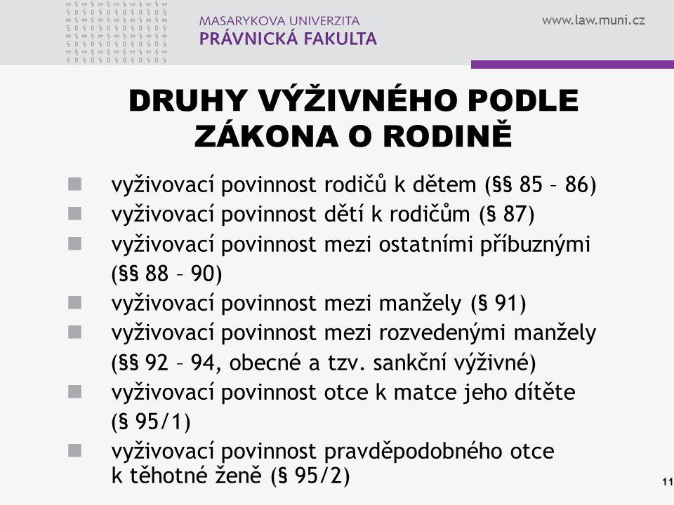 www.law.muni.cz DRUHY VÝŽIVNÉHO PODLE ZÁKONA O RODINĚ vyživovací povinnost rodičů k dětem (§§ 85 – 86) vyživovací povinnost dětí k rodičům (§ 87) vyži