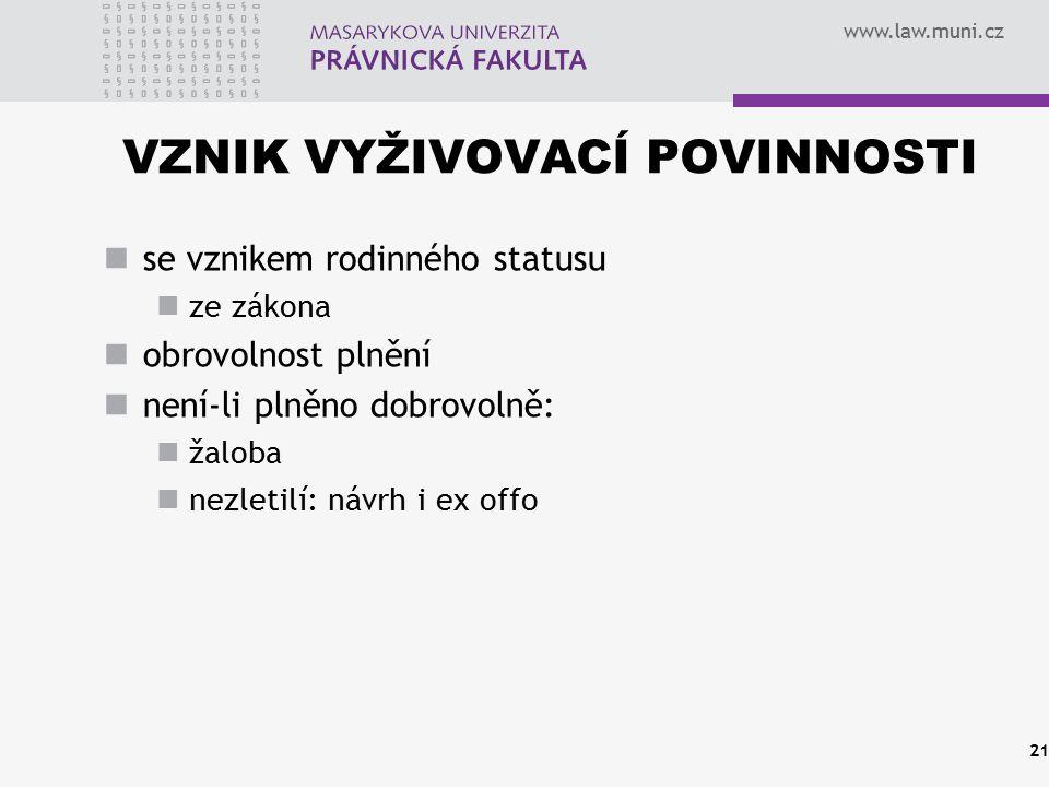 www.law.muni.cz VZNIK VYŽIVOVACÍ POVINNOSTI se vznikem rodinného statusu ze zákona obrovolnost plnění není-li plněno dobrovolně: žaloba nezletilí: náv