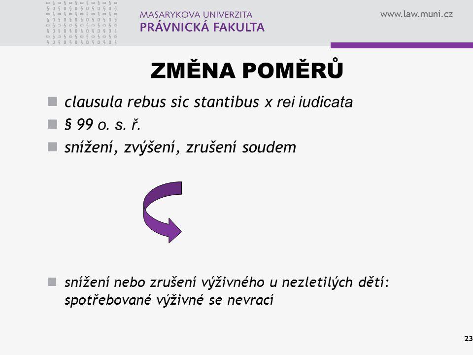 www.law.muni.cz ZMĚNA POMĚRŮ clausula rebus sic stantibus x rei iudicata § 99 o. s. ř. snížení, zvýšení, zrušení soudem snížení nebo zrušení výživného