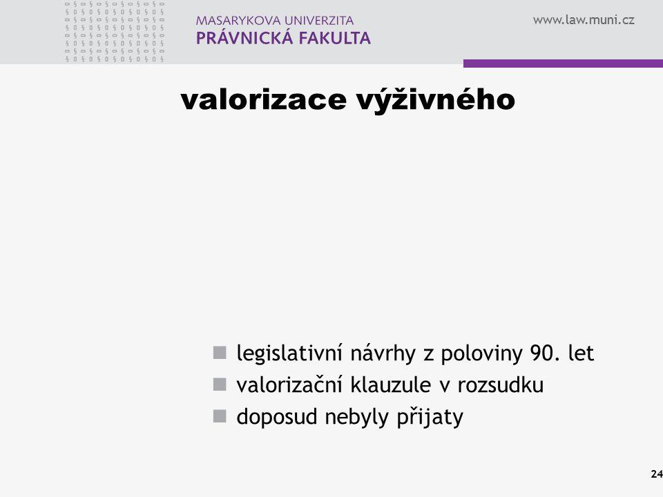 www.law.muni.cz valorizace výživného legislativní návrhy z poloviny 90. let valorizační klauzule v rozsudku doposud nebyly přijaty 24