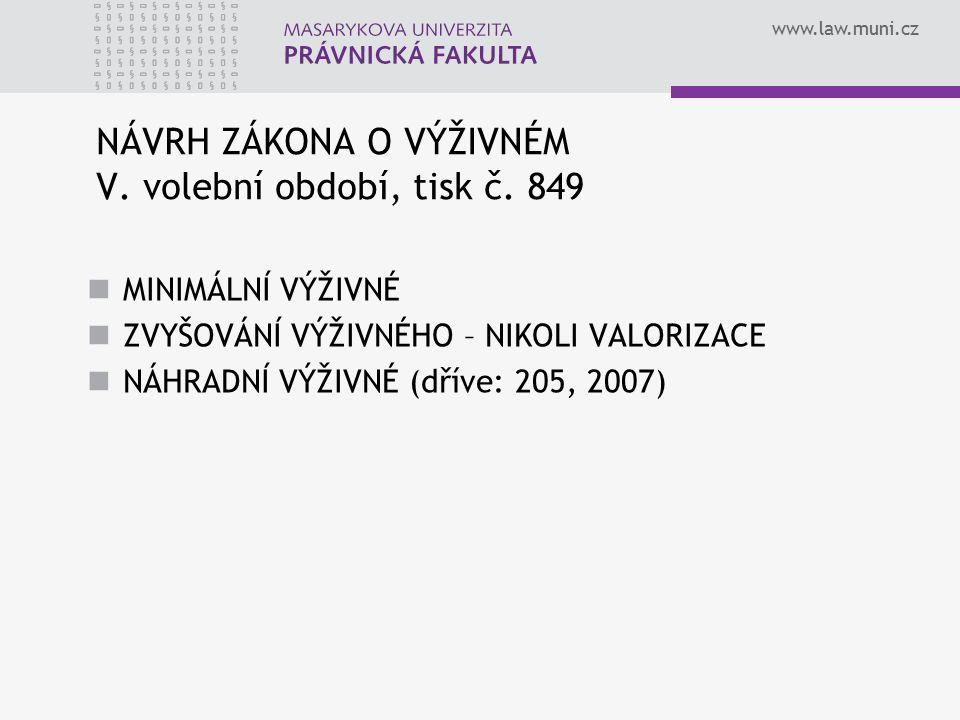 www.law.muni.cz NÁVRH ZÁKONA O VÝŽIVNÉM V. volební období, tisk č. 849 MINIMÁLNÍ VÝŽIVNÉ ZVYŠOVÁNÍ VÝŽIVNÉHO – NIKOLI VALORIZACE NÁHRADNÍ VÝŽIVNÉ (dří