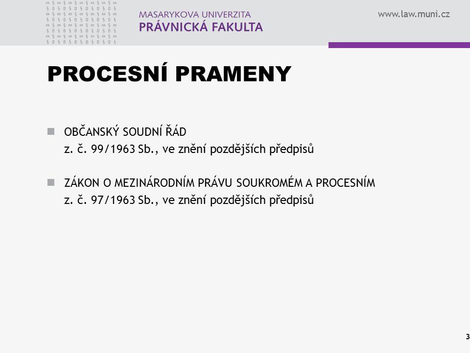 www.law.muni.cz PROCESNÍ PRAMENY OBČANSKÝ SOUDNÍ ŘÁD z. č. 99/1963 Sb., ve znění pozdějších předpisů ZÁKON O MEZINÁRODNÍM PRÁVU SOUKROMÉM A PROCESNÍM