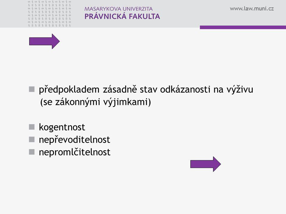 www.law.muni.cz předpokladem zásadně stav odkázanosti na výživu (se zákonnými výjimkami) kogentnost nepřevoditelnost nepromlčitelnost