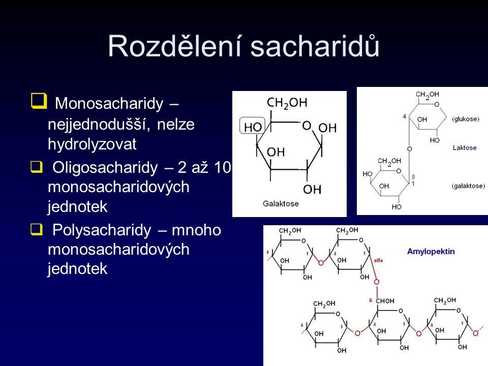 Rozdělení sacharidů  Monosacharidy – nejjednodušší, nelze hydrolyzovat  Oligosacharidy – 2 až 10 monosacharidových jednotek  Polysacharidy – mnoho