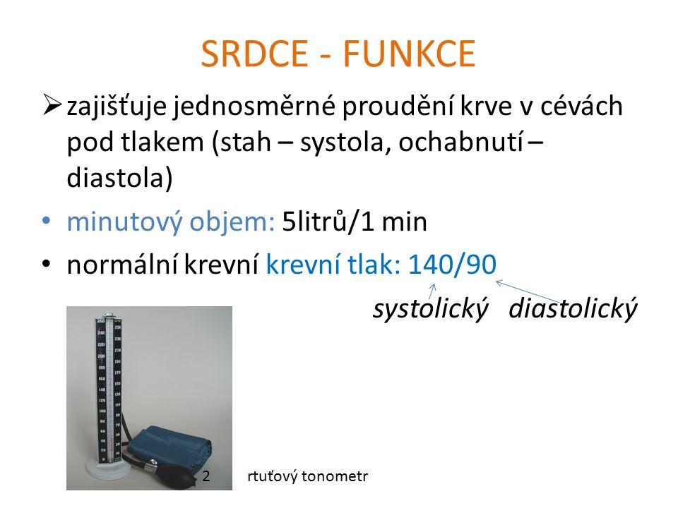 SRDCE - FUNKCE  zajišťuje jednosměrné proudění krve v cévách pod tlakem (stah – systola, ochabnutí – diastola) minutový objem: 5litrů/1 min normální