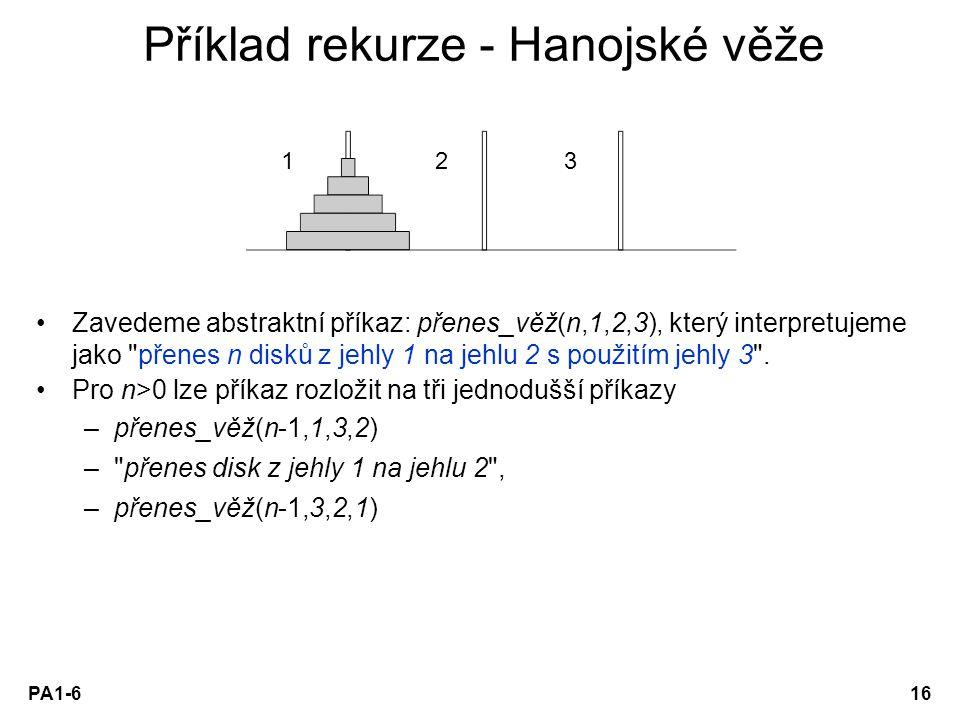 PA1-616 Příklad rekurze - Hanojské věže Zavedeme abstraktní příkaz: přenes_věž(n,1,2,3), který interpretujeme jako