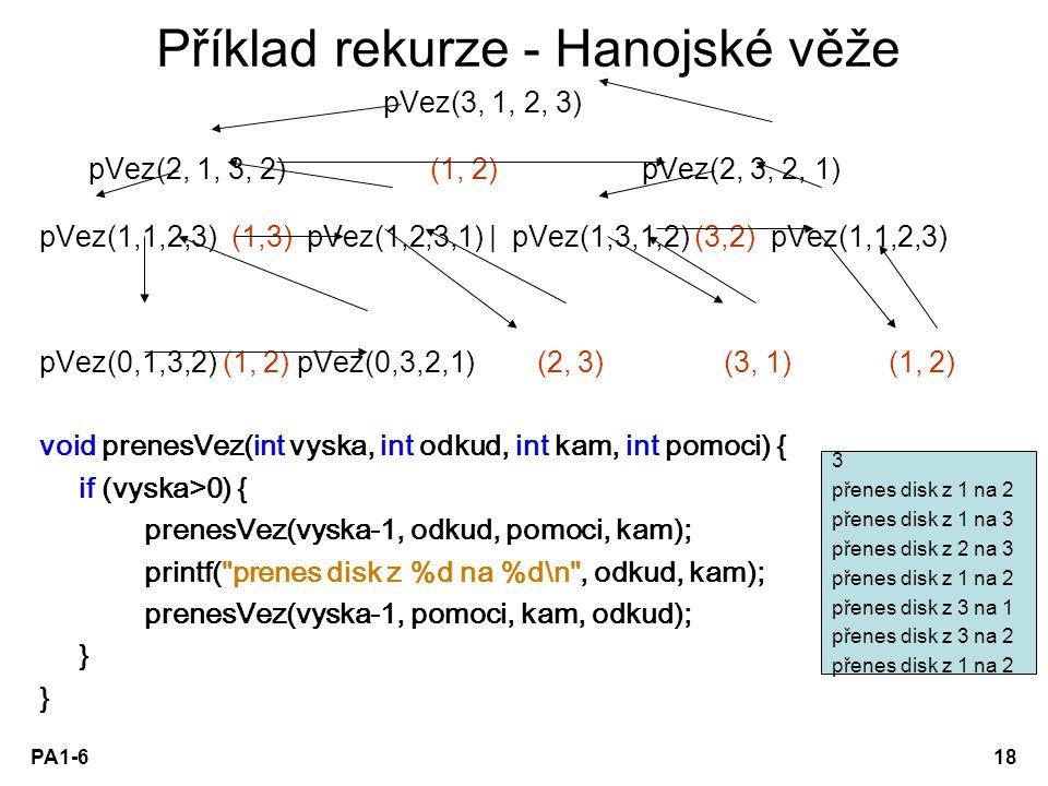 PA1-618 Příklad rekurze - Hanojské věže pVez(3, 1, 2, 3) pVez(2, 1, 3, 2) (1, 2) pVez(2, 3, 2, 1) pVez(1,1,2,3) (1,3) pVez(1,2,3,1) | pVez(1,3,1,2) (3