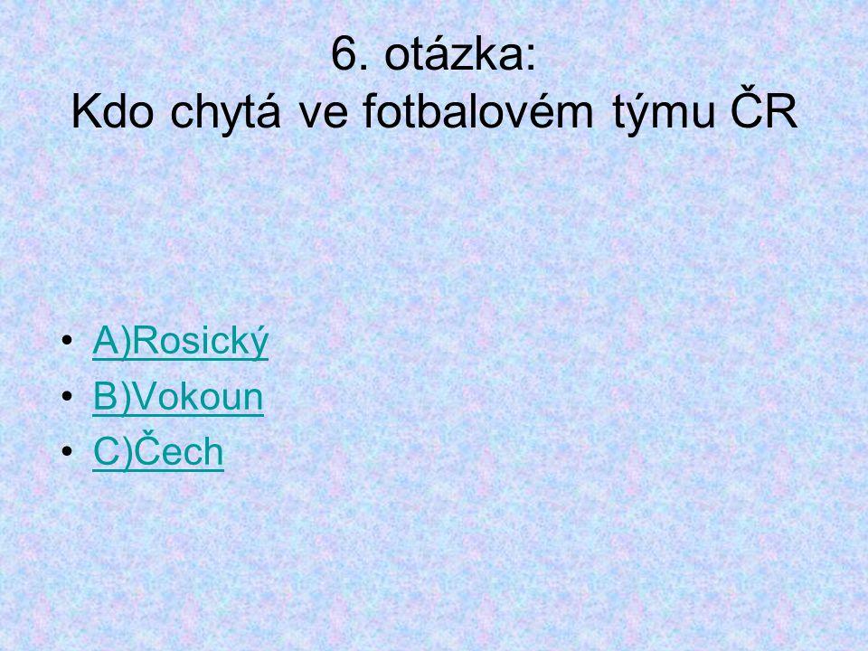 6. otázka: Kdo chytá ve fotbalovém týmu ČR A)Rosický B)Vokoun C)Čech