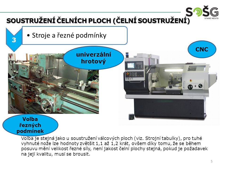 SOUSTRUŽENÍ ČELNÍCH PLOCH (ČELNÍ SOUSTRUŽENÍ) SOUSTRUŽENÍ ČELNÍCH PLOCH (ČELNÍ SOUSTRUŽENÍ) 3 Stroje a řezné podmínky CNC univerzální hrotový Volba je