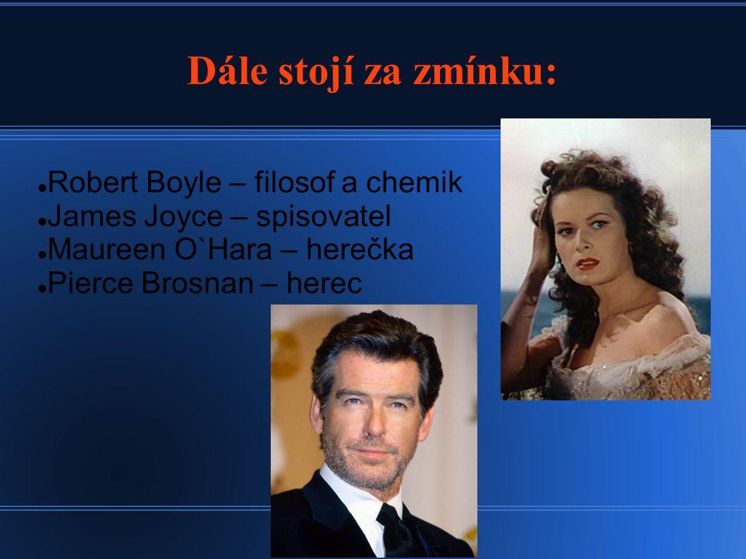 Dále stojí za zmínku: Robert Boyle – filosof a chemik James Joyce – spisovatel Maureen O`Hara – herečka Pierce Brosnan – herec