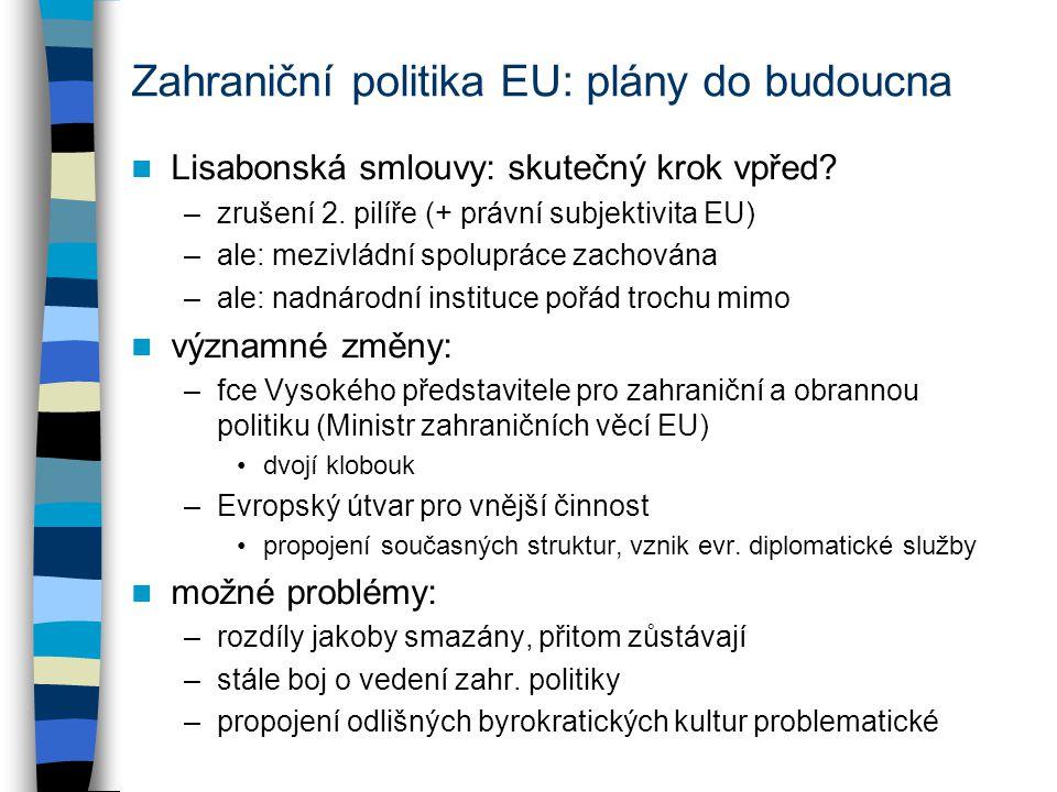 Zahraniční politika EU: plány do budoucna Lisabonská smlouvy: skutečný krok vpřed? –zrušení 2. pilíře (+ právní subjektivita EU) –ale: mezivládní spol