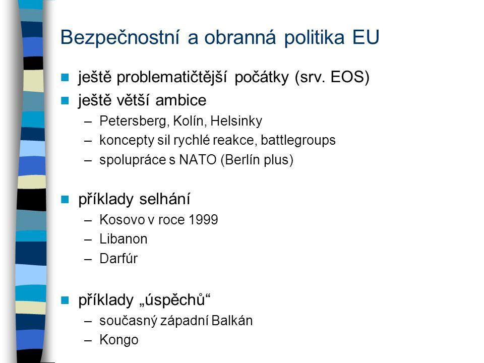 Bezpečnostní a obranná politika EU ještě problematičtější počátky (srv. EOS) ještě větší ambice –Petersberg, Kolín, Helsinky –koncepty sil rychlé reak