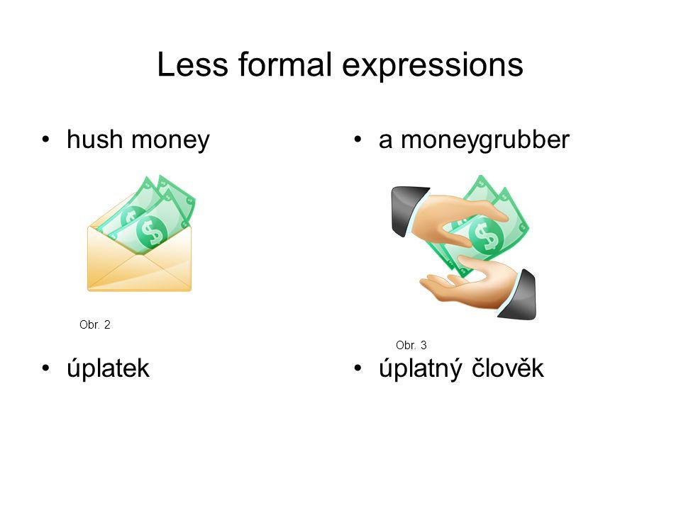 Less formal expressions hush money úplatek a moneygrubber úplatný člověk Obr. 2 Obr. 3
