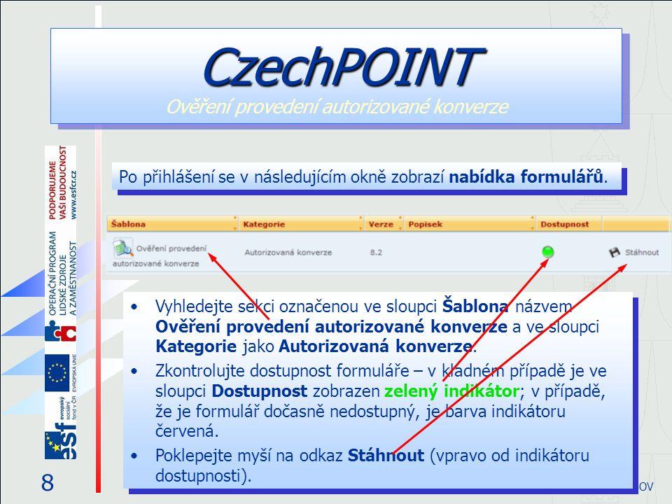 Po přihlášení se v následujícím okně zobrazí nabídka formulářů.