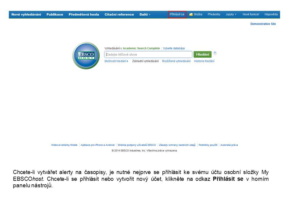 Pro přihlášení ke schránce My EBSCOhost postačí využít Vaše přihlašovací jméno a heslo.