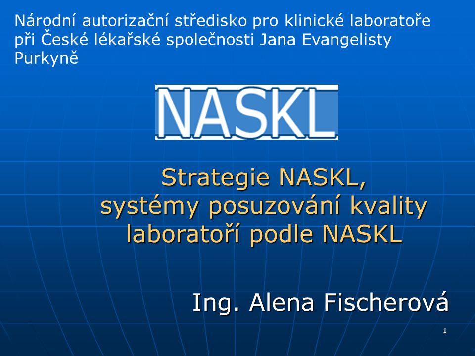 1 Strategie NASKL, systémy posuzování kvality laboratoří podle NASKL Ing. Alena Fischerová Národní autorizační středisko pro klinické laboratoře při Č