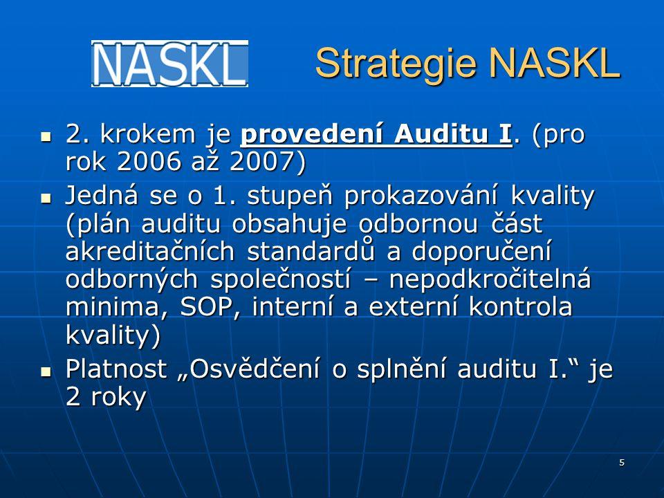 5 Strategie NASKL Strategie NASKL 2. krokem je provedení Auditu I. (pro rok 2006 až 2007) 2. krokem je provedení Auditu I. (pro rok 2006 až 2007) Jedn