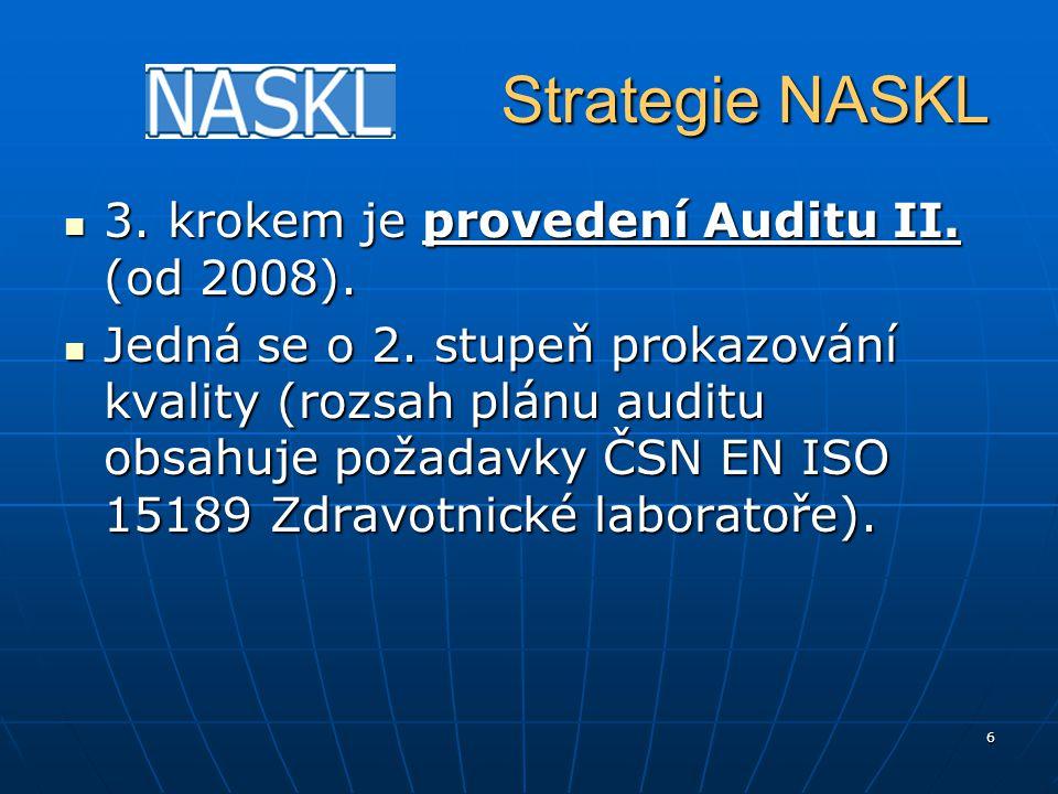 6 Strategie NASKL Strategie NASKL 3. krokem je provedení Auditu II. (od 2008). 3. krokem je provedení Auditu II. (od 2008). Jedná se o 2. stupeň proka