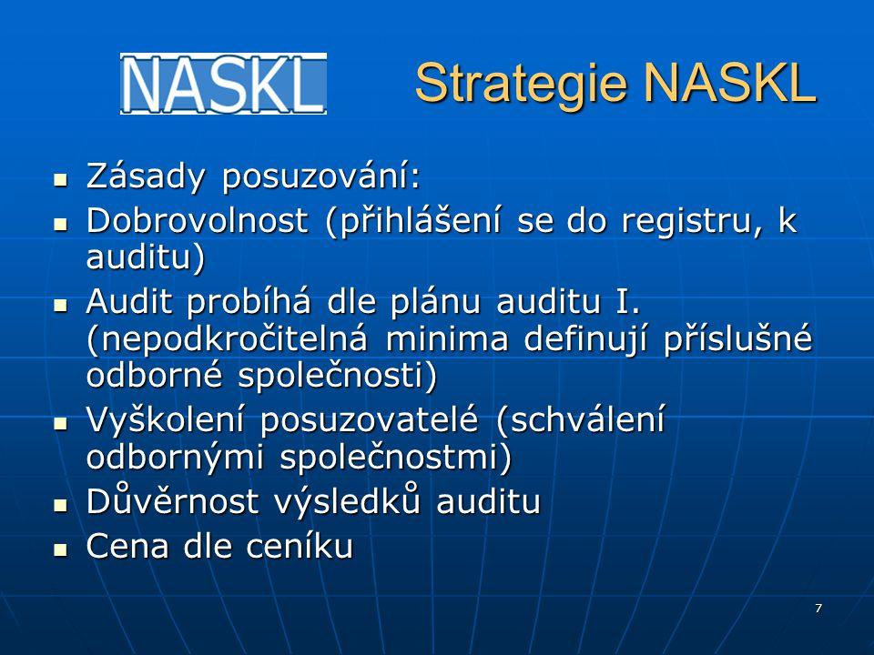 """8 Strategie NASKL Strategie NASKL Výhody posuzování: Výhody posuzování: Systém """"postupné implementace systému managementu v laboratoři (audit I., audit II.) Systém """"postupné implementace systému managementu v laboratoři (audit I., audit II.) Prokazování kvality vzhledem ke klientům a pojišťovnám (viz."""