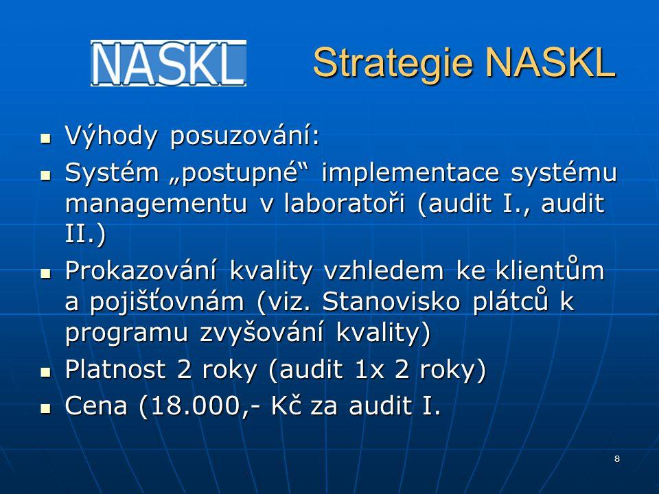 9 Strategie NASKL Strategie NASKL Časté dotazy: 1) Musí být laboratoř akreditovaná dle ISO 15189 zařazená v registru laboratoří.