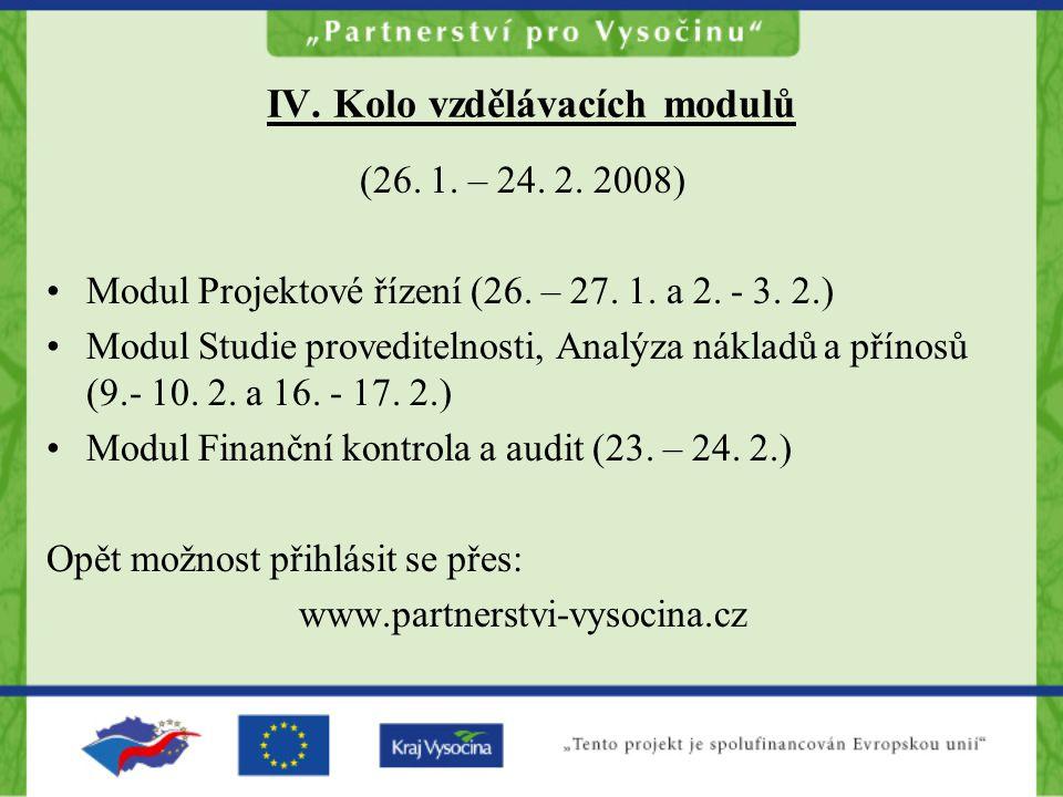 IV. Kolo vzdělávacích modulů (26. 1. – 24. 2. 2008) Modul Projektové řízení (26.