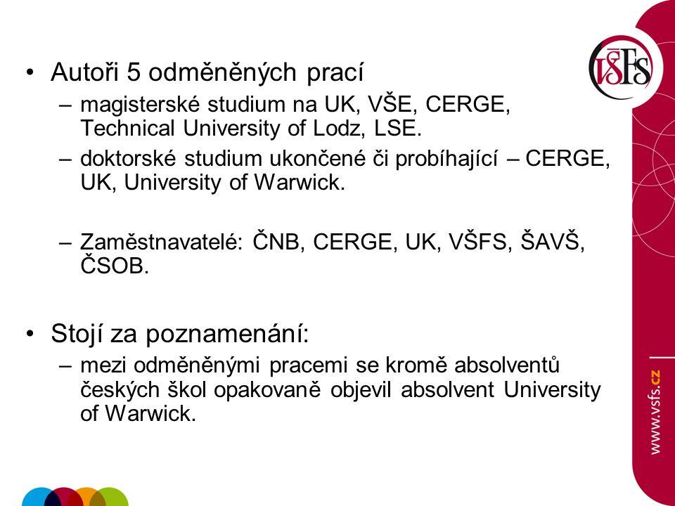 Autoři 5 odměněných prací –magisterské studium na UK, VŠE, CERGE, Technical University of Lodz, LSE. –doktorské studium ukončené či probíhající – CERG