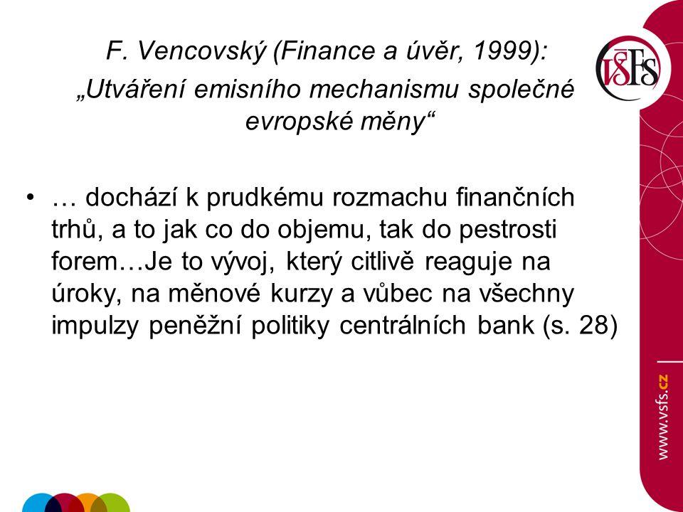 """F. Vencovský (Finance a úvěr, 1999): """"Utváření emisního mechanismu společné evropské měny"""" … dochází k prudkému rozmachu finančních trhů, a to jak co"""