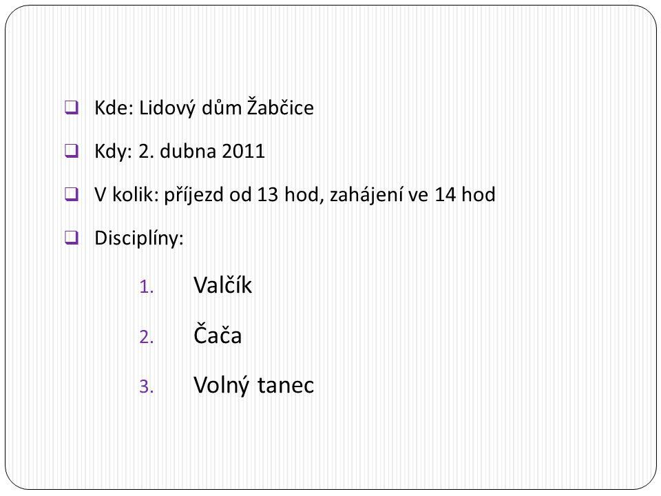  Kde: Lidový dům Žabčice  Kdy: 2.