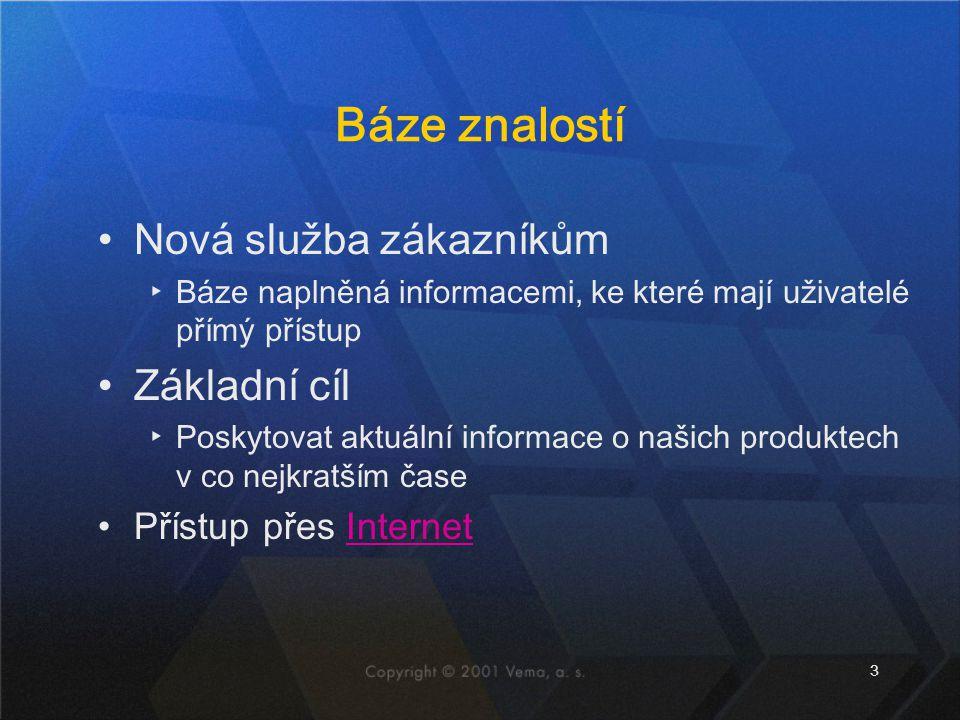 3 Báze znalostí Nová služba zákazníkům ▸Báze naplněná informacemi, ke které mají uživatelé přímý přístup Základní cíl ▸Poskytovat aktuální informace o