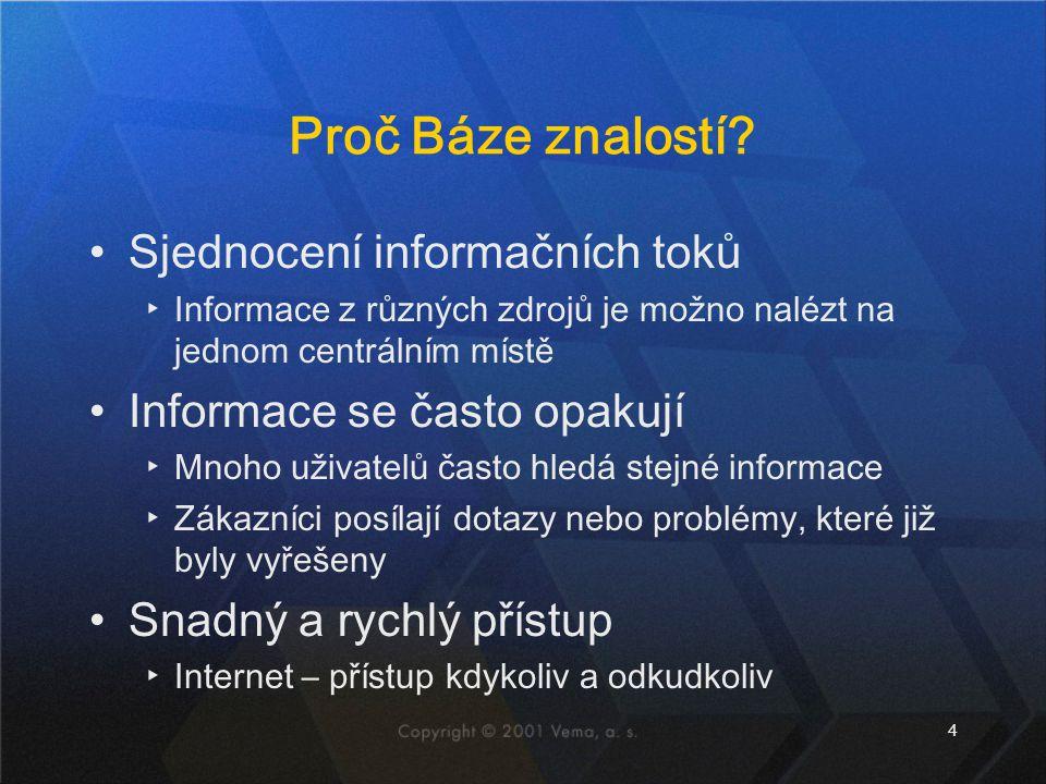 4 Proč Báze znalostí? Sjednocení informačních toků ▸Informace z různých zdrojů je možno nalézt na jednom centrálním místě Informace se často opakují ▸