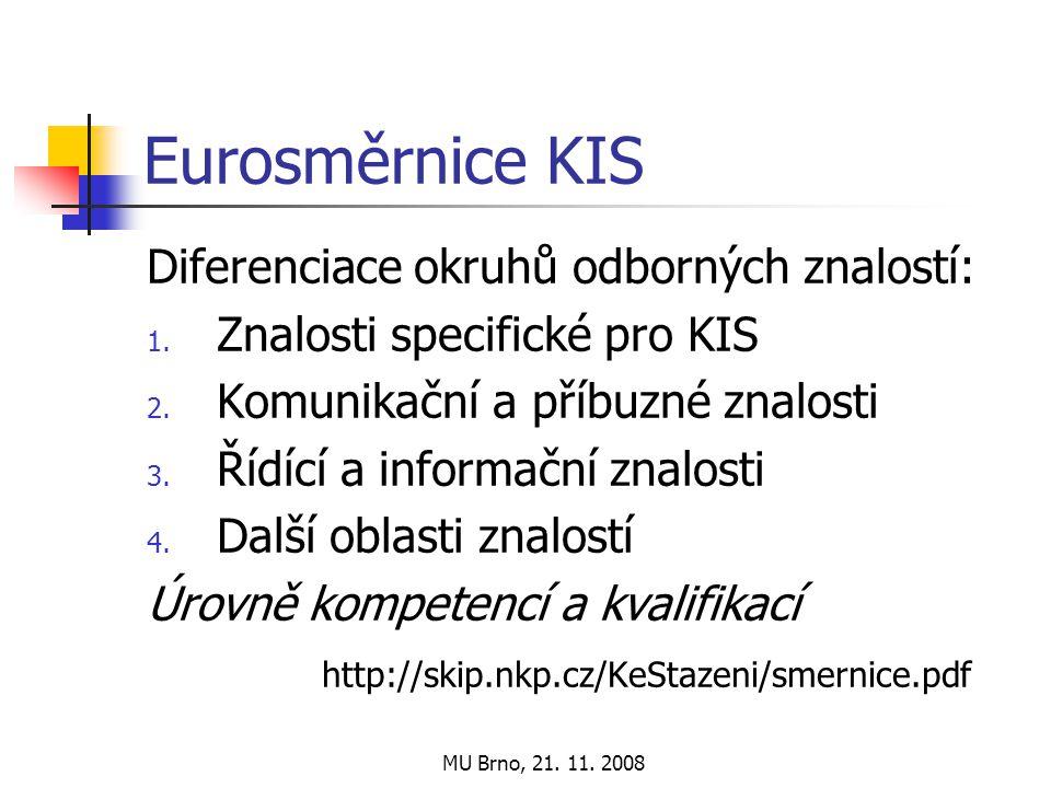 MU Brno, 21. 11. 2008 Eurosměrnice KIS Diferenciace okruhů odborných znalostí: 1.