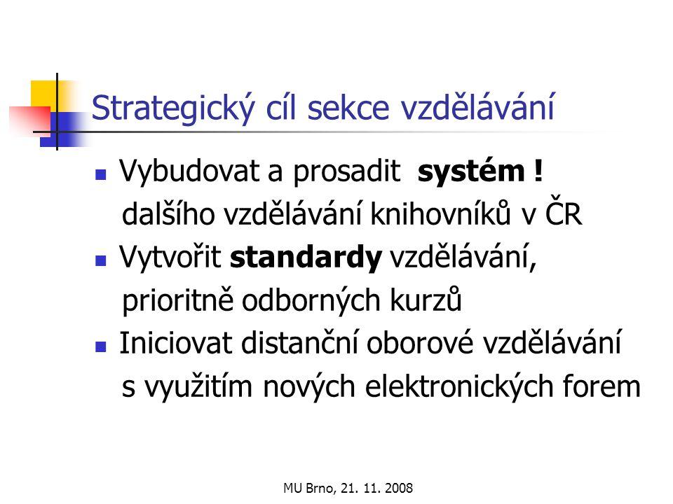 MU Brno, 21. 11. 2008 Strategický cíl sekce vzdělávání Vybudovat a prosadit systém .