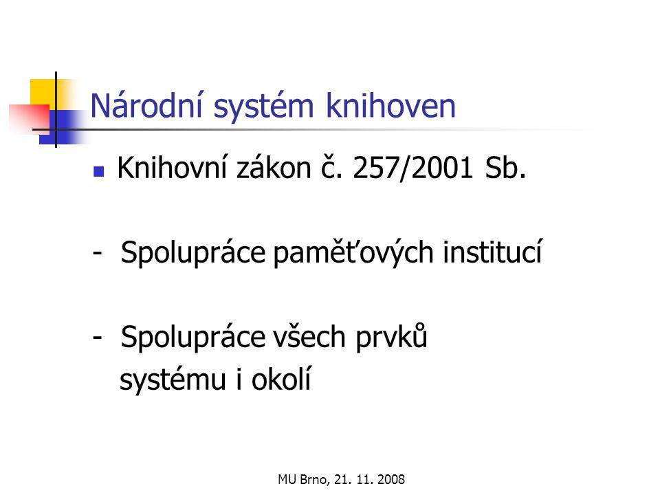MU Brno, 21. 11. 2008 Národní systém knihoven Knihovní zákon č.